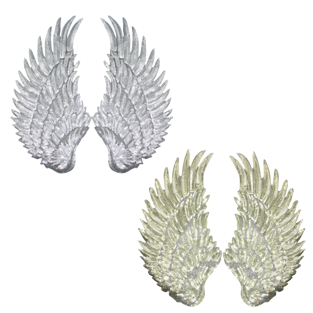 High Quality Sliver Gold Sequins patch DIY Wings patches for clothes Sew-on embroidered patch motif applique deal with it