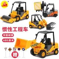 Candice Guo Alloy Car Model 1 24 Forklift Fork Truck Road Roller Tractor Shovel Vehicle Plastic
