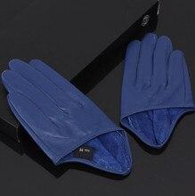 Cuir de mouton naturel pour femme couleur bleu unie demi paume gants femme en cuir véritable mode courte conduite gant R1170