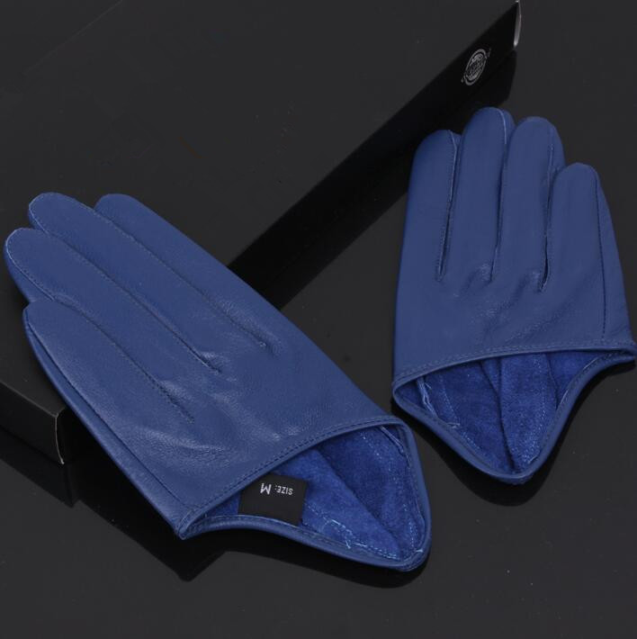 Women's Natural Sheepskin Leather Solid Blue Color Half Palm Gloves Female Genuine Leather Fashion Short Driving Glove R1170