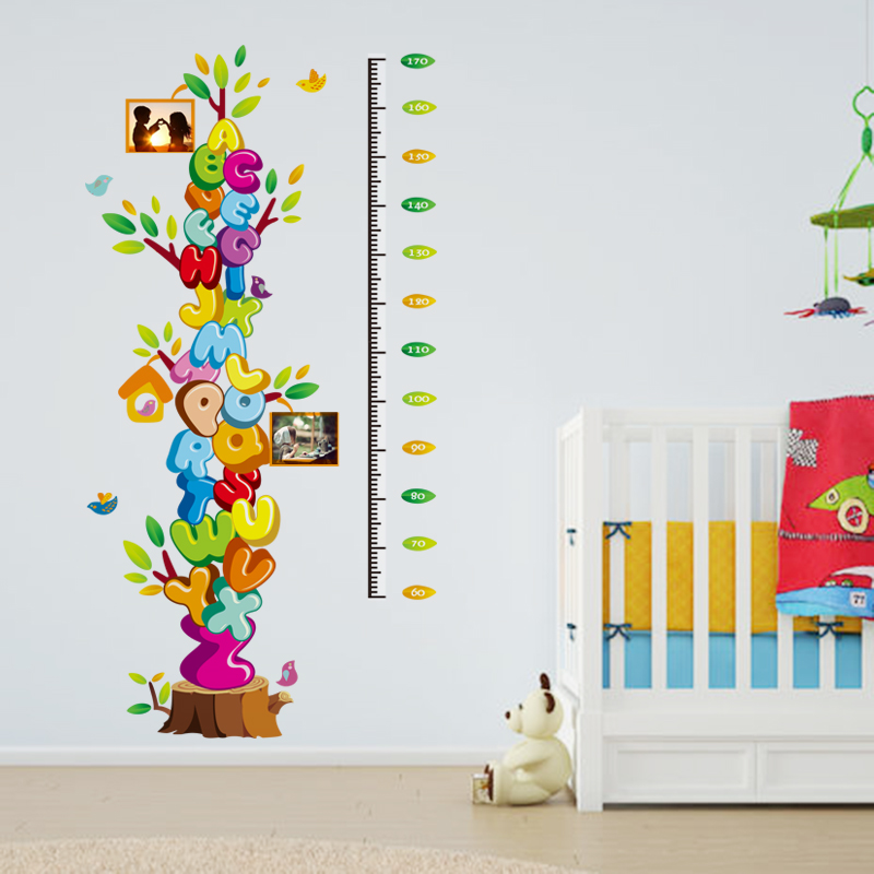 abc english wall sticker growth chart cartoon colorful memories tree