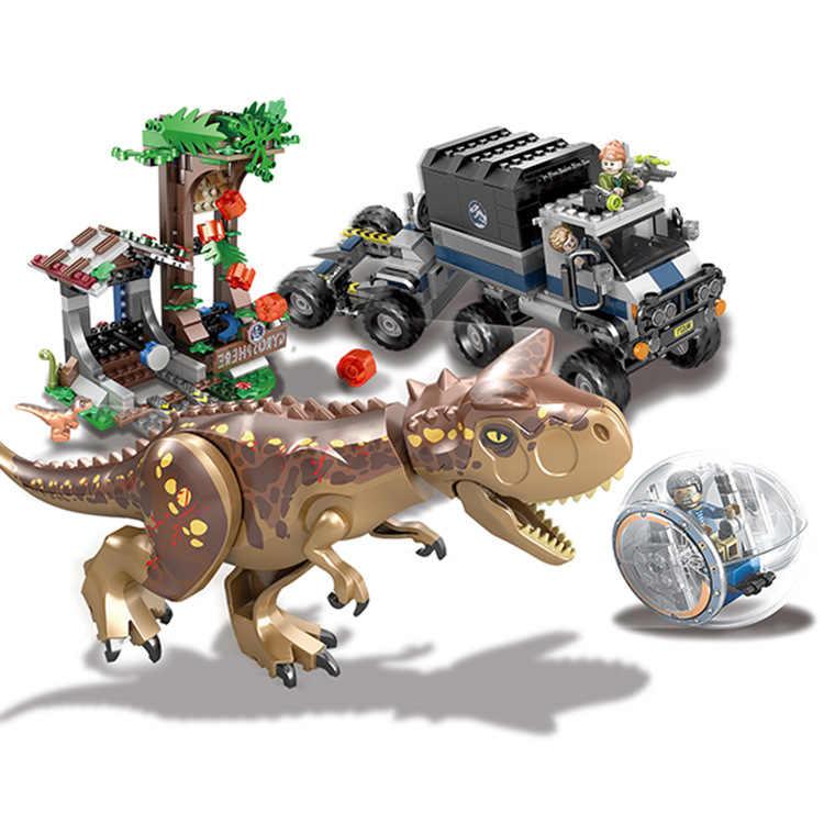Legoinglys 75929 648 pçs jurassic world park 2 carnotaurus girosfera escapar dinossauro dragão figuras blocos de construção brinquedos