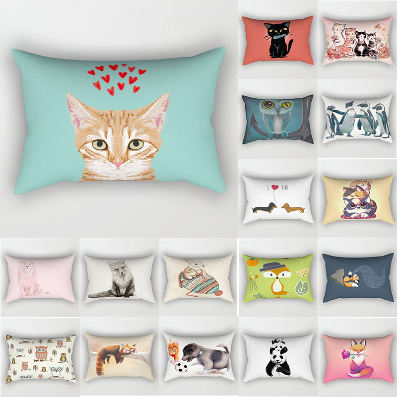 Beauty cartoon lion owl dogs pillow case cat lovely rectangle  travel animal pattern two sides printing covers 50*30cm