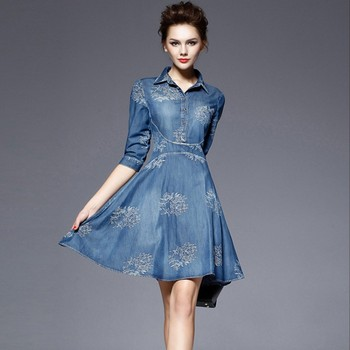 2019 New Runway Summer Women Fashion Luxury Embroidery dress Denim Elegant Vintage Blue Dresses Plus Size Vestidos robe