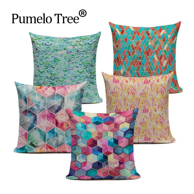 Geometric Pattern Cushion Cover Creative Splicing Throw Pillow Vintage Linen Cotton Decor Sofa Car Bedroom Custom Pillow Case