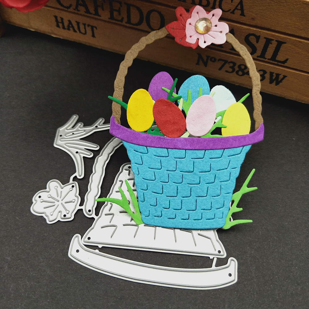 HamyHo Metal Cutting Dies Weave Easter Egg Basket Dies Cut Scrapbooking Stamping Dies Album Card Photo Decorate Craft 2018 New