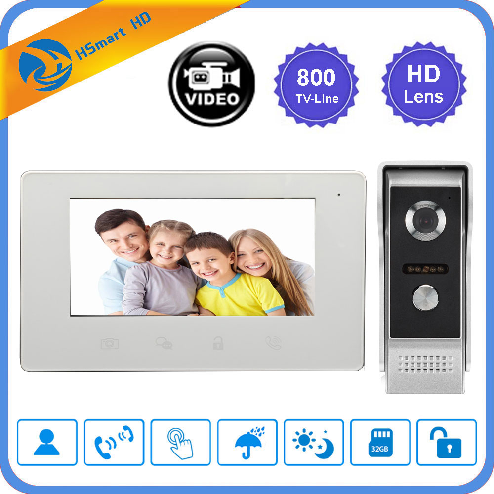 7 inch LCD Video Doorbell Monitor Doorphone Intercom System 800TVL Waterproof IR Camera Motion Detection Door Phone +16G SD card цена