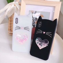 For iPhone X 7 8 Plus Case 3D Cute Cartoon Beard Cat Liquid Quicksand Cases 5S SE 6 6S Silicon Soft TPU Fundas