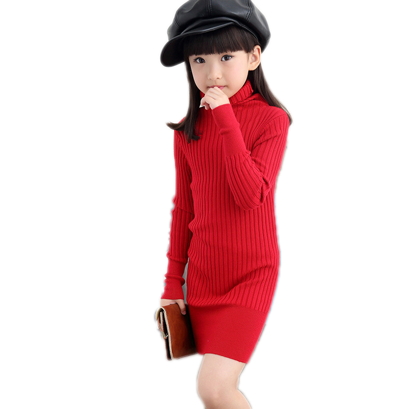 2017 New Teenage Kids Knitted Sweaters For Girls Children Clothing Turtleneck Sweaters Autumn Winter Skinny Girls Knitwear