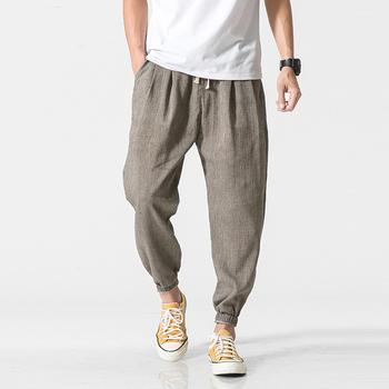 Privathinker marka Casual Harem spodnie męskie spodnie do joggingu męskie spodnie fitness męskie chińskie tradycyjne Harajuku 2020 letnie ubrania tanie i dobre opinie Mieszkanie Pościel COTTON Kieszenie Luźne Pełnej długości Mens joggers Na co dzień Midweight Czesankowej Elastyczny pas