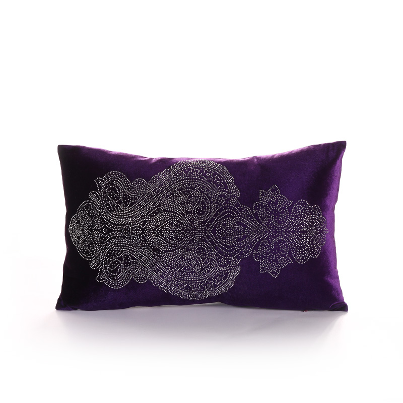 Disciplined Panfelou 30*50cm European Environmental Purple Inlay Zircon Pattern Cushion Cover For Sofa Livingroom Bedroom A Complete Range Of Specifications Home Textile