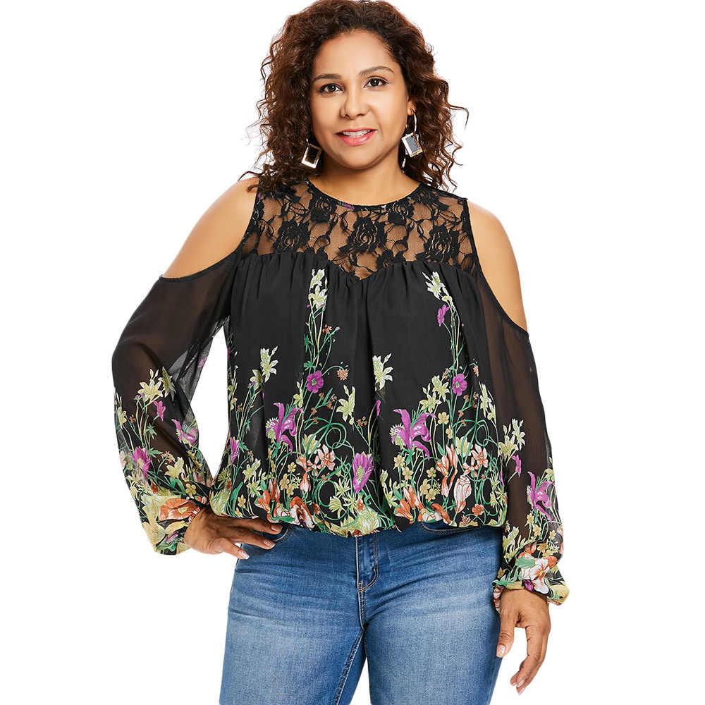 630e5b0a143a14 Wipalo Plus Size 5XL Cold Shoulder Floral Print Lace Panel Blouse Women  Long Sleeve O Neck