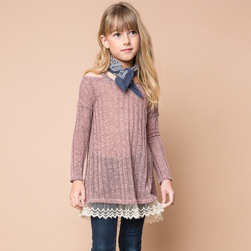 Girls Autumn Lace Long Sweater Tops Kids Shoulderless Knit Pullover Tops  For 7-14y Babys Free Shipping - Shoulderless Sweater Promotion-Shop For Promotional Shoulderless