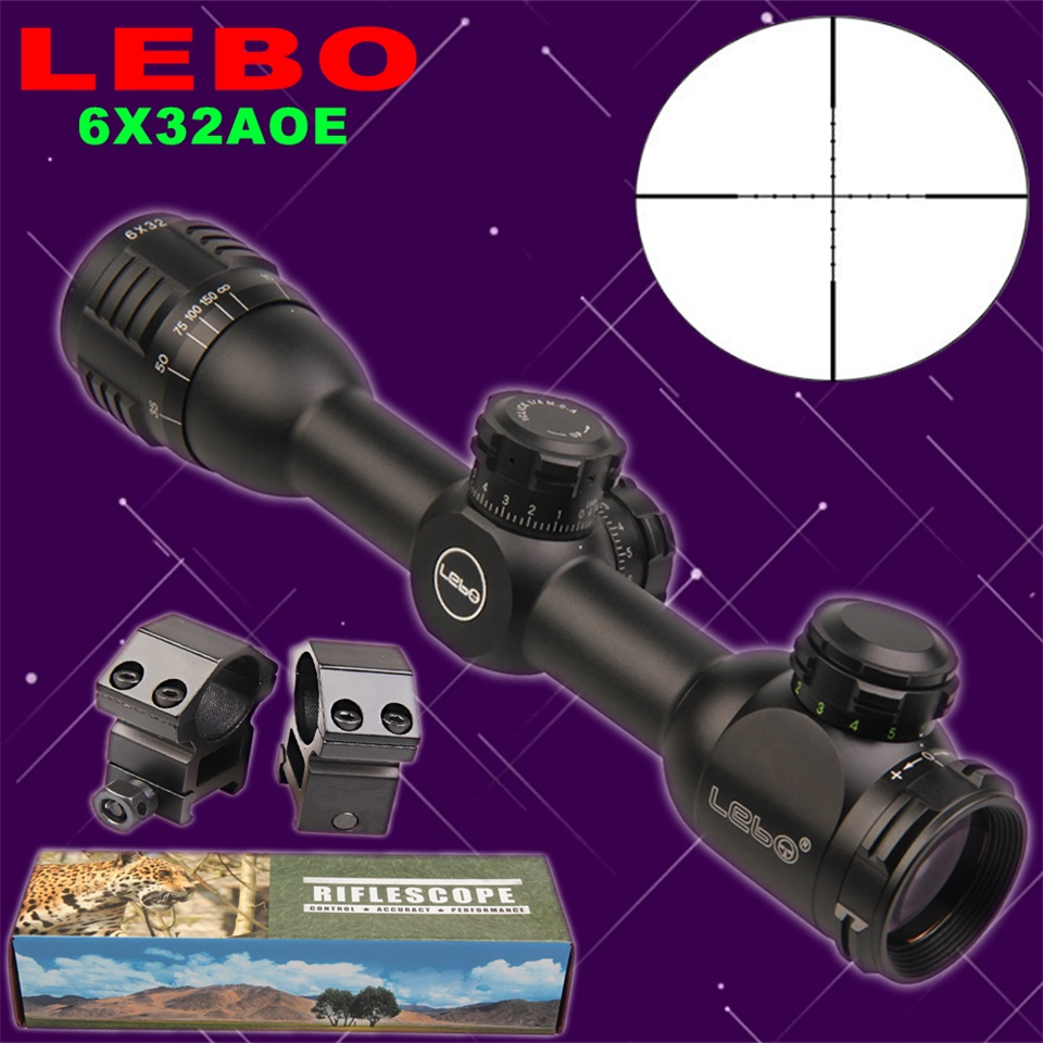LEBO 6x32 AOE Mil-Dot Glass Etched Reticle Compact Lock Tactical Optical Sight Rifle Scope For Hunting Riflescope tactial qd release rifle scope 3 9x32 1maol mil dot hunting riflescope with sun shade tactical optical sight tube equipment