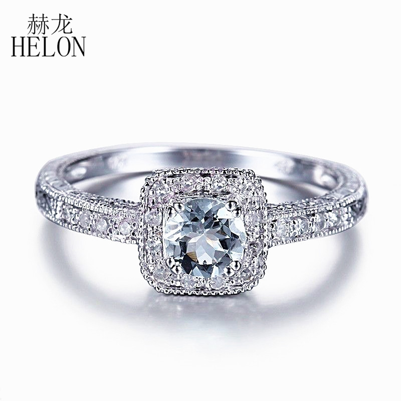 HELON Natural Aquamarine Ring 4 5mm Round Cut Aquamarine Engagement Ring Natural Diamonds Wedding Ring Sterling