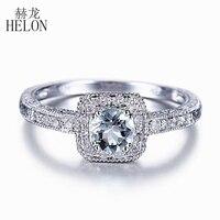 HELON кольца Натуральный аквамарин 4,5 мм Круглый Cut Аквамарин Обручение кольцо Природный бриллиантами обручальное кольцо стерлингового сереб