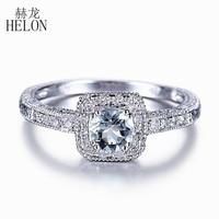 HELON Natural Aquamarine Ring 4.5mm Round Cut Aquamarine Engagement Ring Natural Diamonds Wedding Ring Sterling Silver 925 Ring