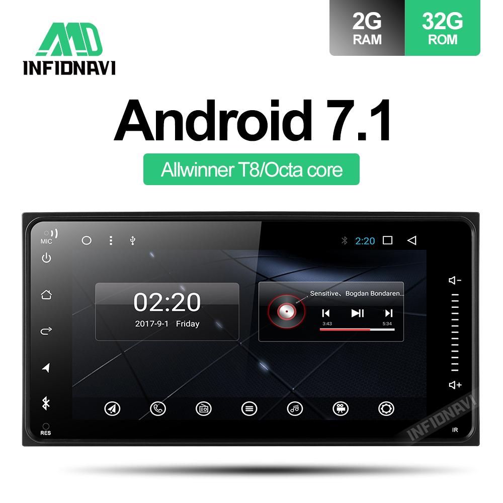 android 7.1 car dvd for Toyota Terios Old Corolla Camry Prado RAV4 Universal radio with navigation 2+32G car stereo gps player