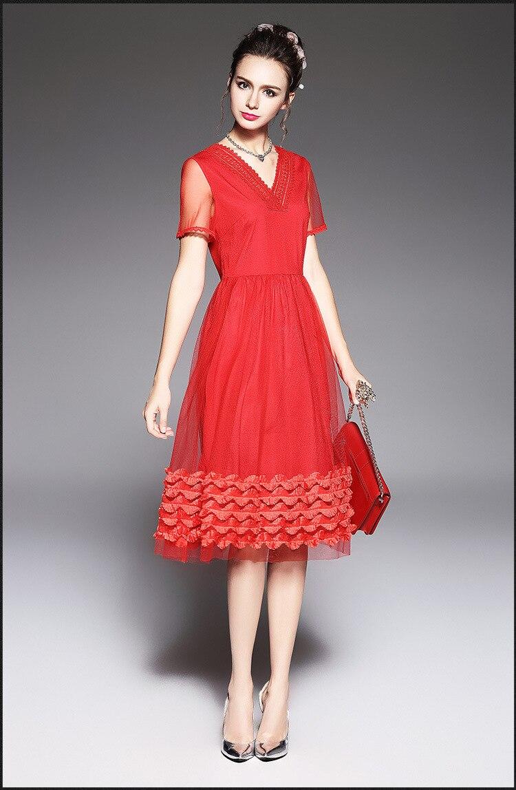 2017Summer ladies beautiful ball gown dress pinched waist mesh dress ...