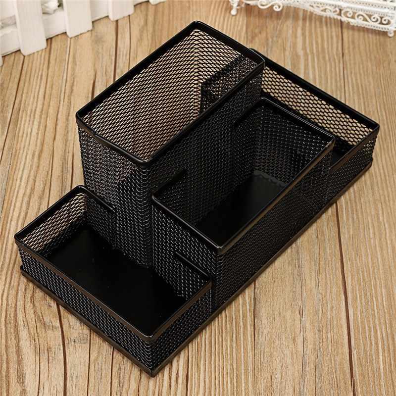 Metal Mesh Holder Pencil Pot Desktop Pen Iron Combination Pen Stands Set Holder Organizer Office Home Stationery Storage Case
