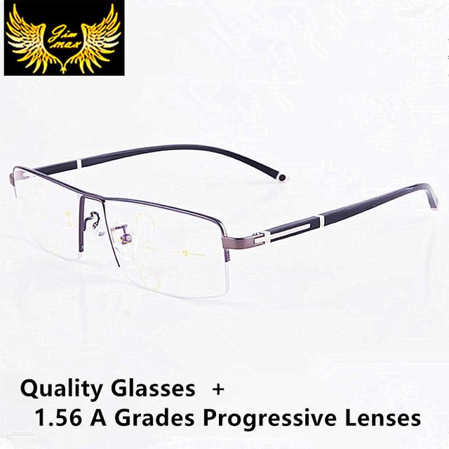 Novos homens titanium liga lentes progressivas óculos de leitura de qualidade moda praça metade rim óculos multifocais clássicos para homens