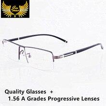 Nowi mężczyźni stop tytanu jakości soczewki progresywne okulary do czytania Fashion Square pół obręczy klasyczne okulary wieloogniskowe dla mężczyzn