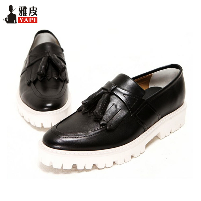 Brand New Retro Mens Genuine Leather Round Toe Tassel Shoes Business Man Fringe Thick Heel Oxfords Heighten Shoes 2016 new british style brand classic men s oxfords shoes mens dress business shoes fats 100% genuine leather shoes free shipping
