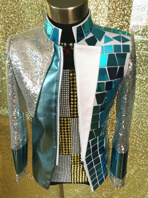 Plus Size Costomized Men s Silver Sequins Mirror Jacket Ds Dj Male Singer  Dance Wear Outerwear Costume 501b28ab0438