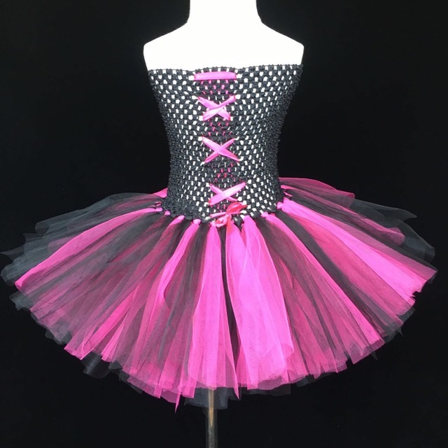31aa002d9f5e Baby Black Pink Tutu Dress Girls Crossed Crochet 2Layers Tulle Dress ...