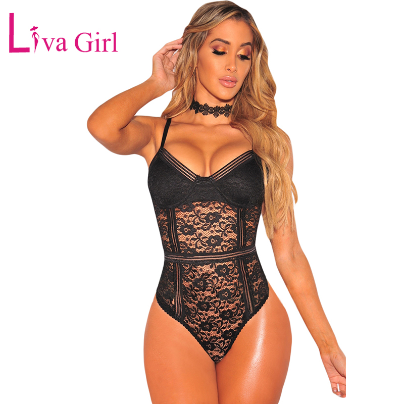 LIVA GIRL Bodycon Black Floral Lace Bodysuit Woman Sexy Hollow Out Sleeveless Skinny Nude Jumpsuits Women Bodysuits Combinaison in Bodysuits from Women 39 s Clothing