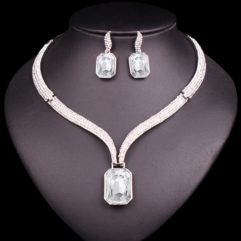Fashion AAA Crystal Choker Necklace & Earrings Sets Bridal Jewelry Sets Brides Wedding Party Costume Jewellery Gifts for Women