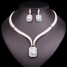 Fashion AAA Crystal Choker Necklace & Earrings Sets Bridal Jewelry Sets Brides Wedding Party Costume