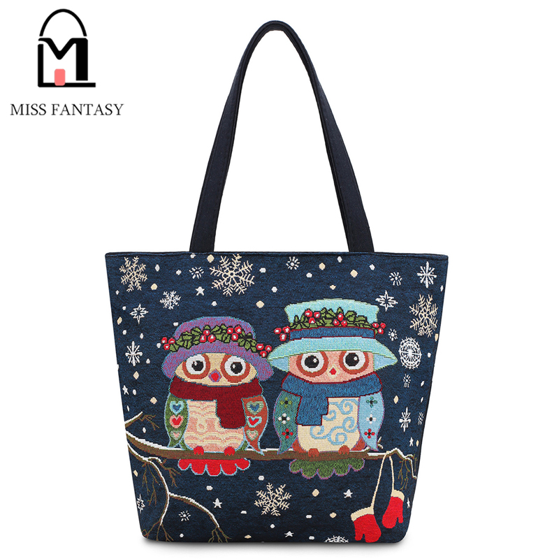 Women Bag Women's Canvas Handbag National Wind Owl Printed  Beach Shopping Bag Navy Blue Color Big Travel Shoulder Bags Tote Bag