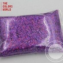 Tca801 лазерный свет фиолетовый 1.0 мм 040 Размеры голографические блестки Косметическая пудра для ногтей, гель, косметические и DIY искусства украшения