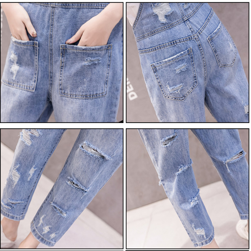 JUJULAND Jean overalls ankle length pants casual loose hole ripped overalls S XL blue jeans 2019 in Jeans from Women 39 s Clothing