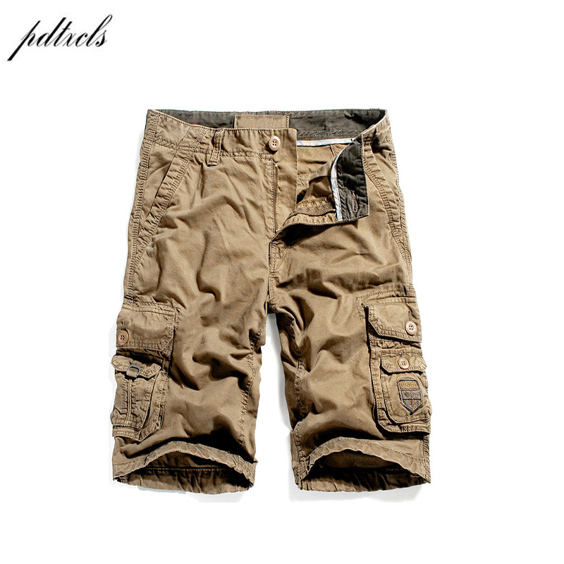 PDTXCLS 2018 Brand High Quality Military Shorts Men 100% Cotton Casual Cargo Mens shorts Homens
