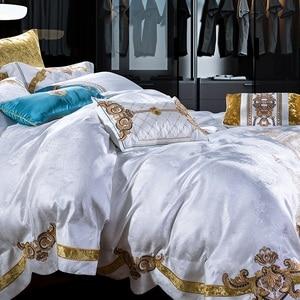 Image 5 - 800TC 4/6/10Pcs Satin Cotton Luxury Royal Bedding Set King Queen size Duvet cover Bed sheet set Wedding Bedspread Pillow shams