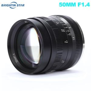 Image 1 - Brightin כוכב 50mm F1.4 ראש עדשת גדול צמצם ידני עדשה עבור Sony e mount עבור Fuji X  הר M4/3 הר ראי מצלמות