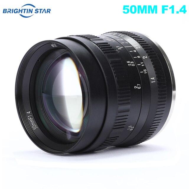 Brightin כוכב 50mm F1.4 ראש עדשת גדול צמצם ידני עדשה עבור Sony e mount עבור Fuji X  הר M4/3 הר ראי מצלמות