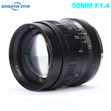 Brightin Star 50mm F1.4 Prime Lens Large Aperture Manual Lens for Sony E mount for Fuji X mount M4/3 Mount Mirrorless Cameras