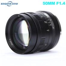 Brightin Yıldız 50mm F1.4 Ana Lens Büyük Diyafram Manuel Lens için Sony e montaj Fuji X montaj M4/3 Dağı Aynasız Kameralar