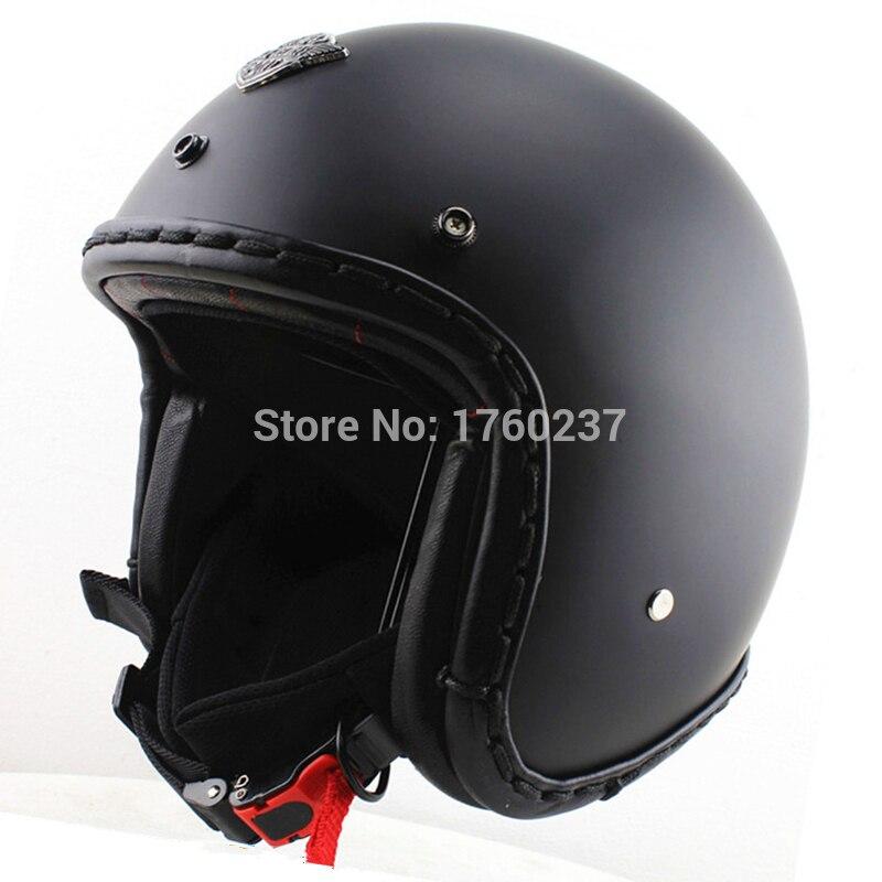 Handtailor Men open face vintage motorcycle helmets Cruiser scooter jet helmet casco capacete matte black DOT Approved