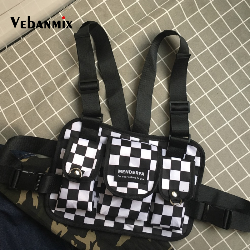 Fashion Black And White Plaid Chest Bag For Men Kanye West Hip Hop Streetwear Men Tactical Chest Rig Vest Wait Packs Bum Bag