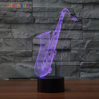 LED Night Light Saxophone USB 3D Lamp 7 Colors Sensor 3D Bedroom Lights Atmosphere Decoration Gift