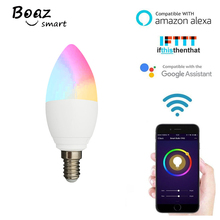 BOAZ E14 Smart LED Candle Light Bulb WiFi Dimmable Tuya Smartlife APP Remote Control Support Alexa Goole Home IFTTT