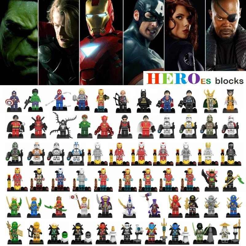 1pc star wars super heróis blocos de construção batman thor superman hulk aranha ferro maravilha ninjaed legoed figura tijolo brinquedo do miúdo presente