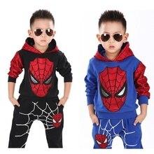 цена на Boys Clothes Set Classic Spiderman Child Costume Sports suit 2 pieces set Tracksuits Kids Clothing sets Coat+Pant for 3-7y