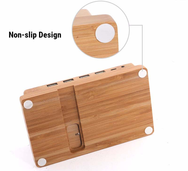 Multifunctional Bamboo USB Charging Dock/Holder for Apple Watch iPhone iPad 13