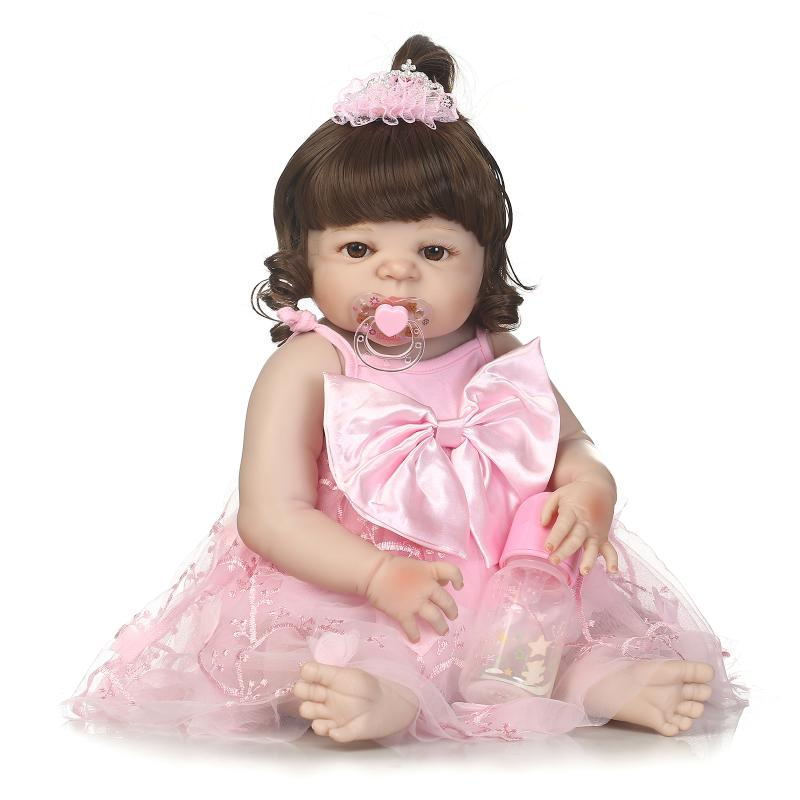 23inch Boneca Bebe Reborn Doll 57cm Full Body Bathed Doll Lifelike Baby Girl Pink Princess Bebe Reborn Girl Doll Christmas Gifts pink wool coat doll clothes with belt for 18 american girl doll