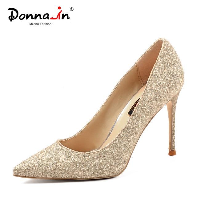 Donna-in/2019 туфли-лодочки на высоком каблуке-шпильке 10 см, пикантная женская обувь, туфли-лодочки на тонком каблуке, свадебные туфли большого размера, блестящие женские туфли для невесты